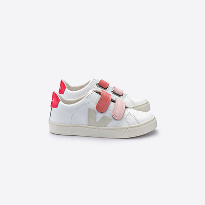 Esplar Extra White Pierre Velcro Rose - Veja,  a designer children shoes and accessories brand based in Paris, France. Carried by Kids Edition, the best online designer children clothing boutique based in Vancouver, Canada.