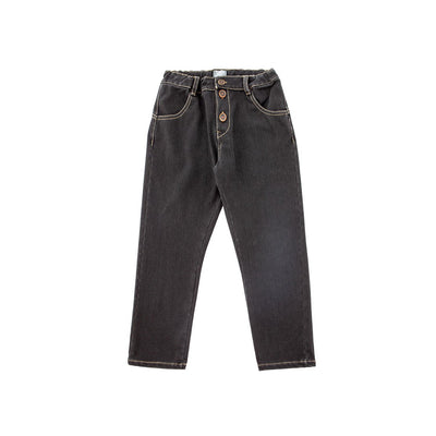 Black Denim Elastic Trousers - Kids Edition