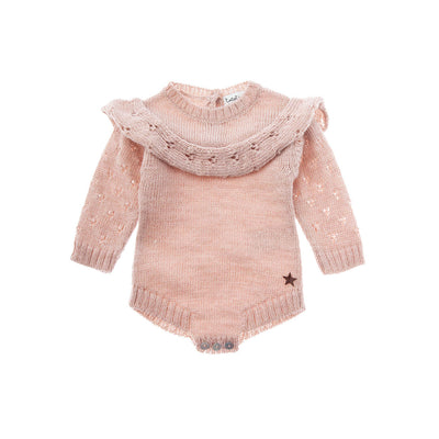 Knitted Baby Onepiece with Openwork Details - Kids Edition