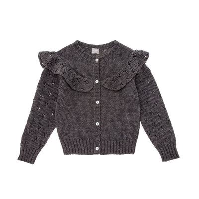 Knitted Cardigan with Openwork On Sleeves And Flounce - Grey - Kids Edition