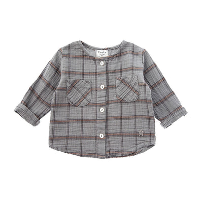 Checkered Shirt with Round Neck And Front Pockets - Kids Edition