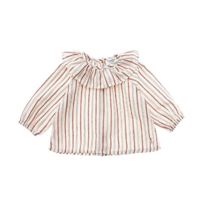 Striped Blouse with Flounced Neck - Kids Edition