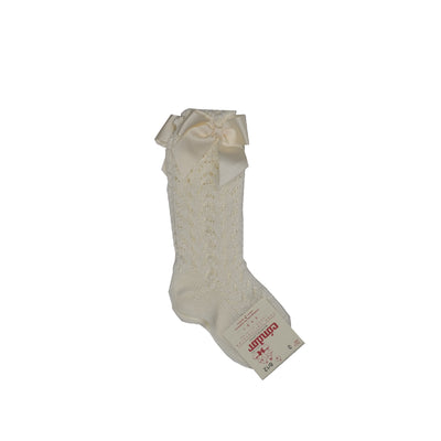 Cotton Openwork Knee-High Socks With Bow - White
