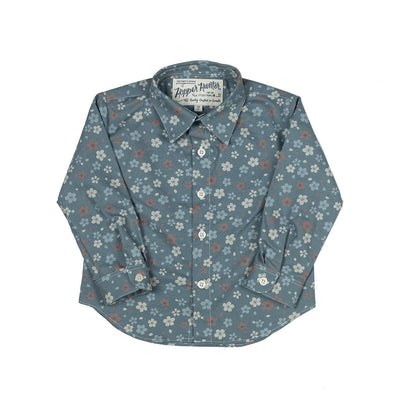 Blue Wildflowers Long Sleeve Hopper Shirt - Kids Edition