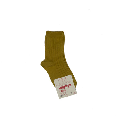 Basic Wide Rib Short Socks - Yellow