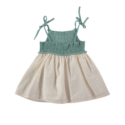Berta Knitt & Voile Flower Baby Dress - Mint - Buho, a designer children shoes and accessories brand based in Barcelona, Spain. Carried by Kids Edition, the best online designer children clothing boutique based in Vancouver, Canada.