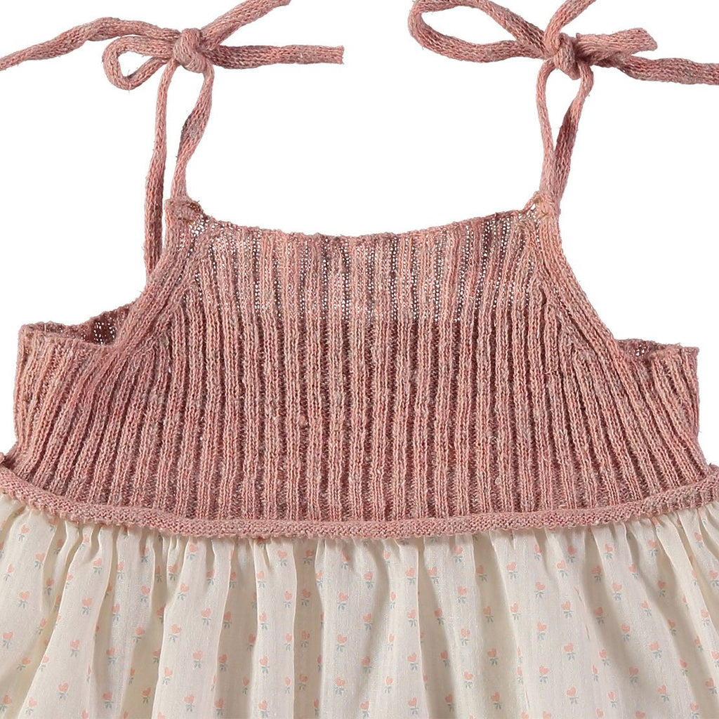 Berta Knitt & Voile Flower Baby Dress - Rose - Kids Edition