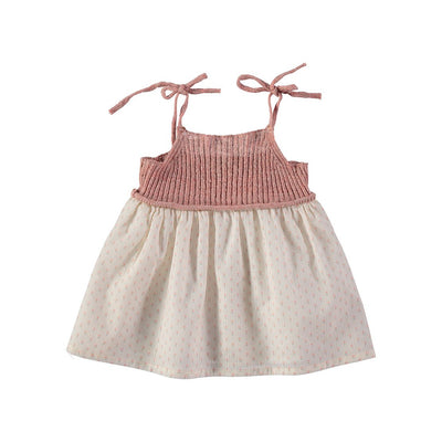 Berta Knitt & Voile Flower Baby Dress - Rose - Buho, a designer children shoes and accessories brand based in Barcelona, Spain. Carried by Kids Edition, the best online designer children clothing boutique based in Vancouver, Canada.