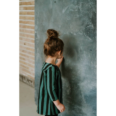 Forest Green Black Stripe Sweat Dress - Kids Edition