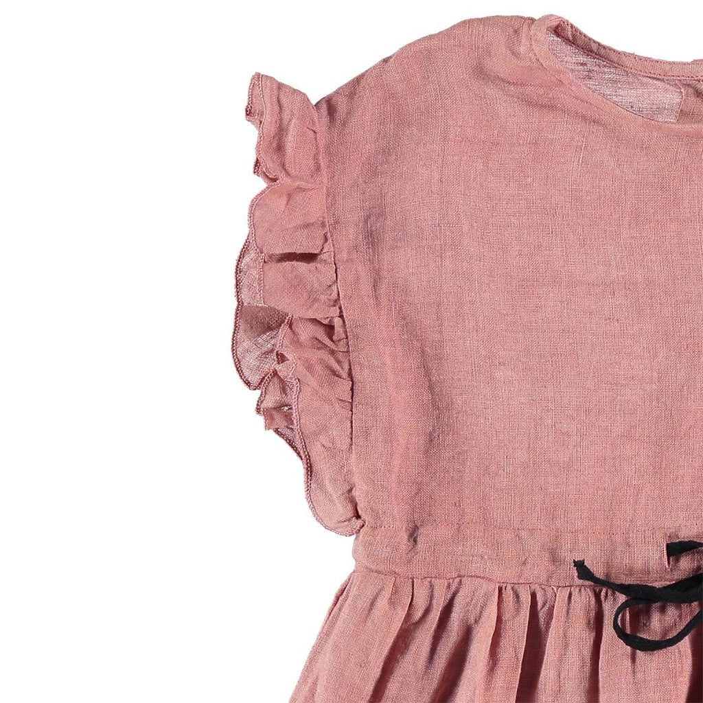 Gina Linen Embroidery Dress - Old Rose - Kids Edition