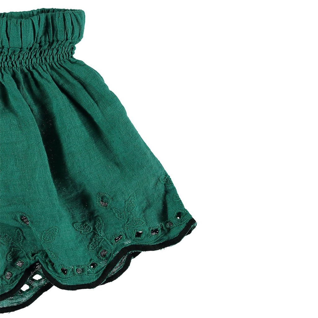 Leila Linen Embroidery Short - Mint - Kids Edition