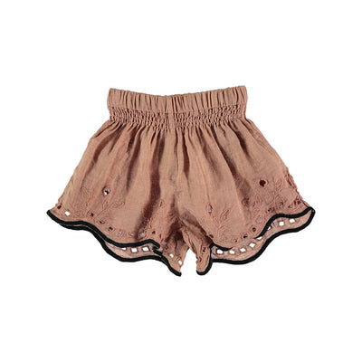Leila Linen Embroidery Short - Old Rose - Kids Edition