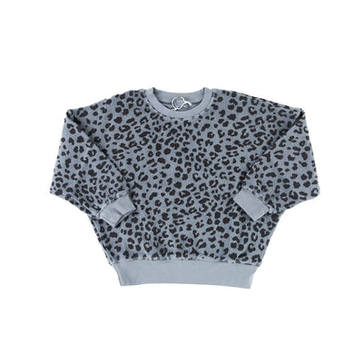 Allover Animal Print Organic Cotton Sweatshirt - Grey - Kids Edition