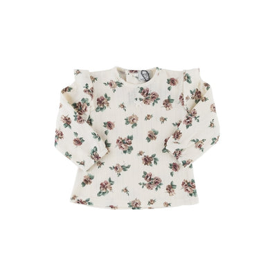 Flower Print Ribbed Organic Cotton T-Shirt - Kids Edition