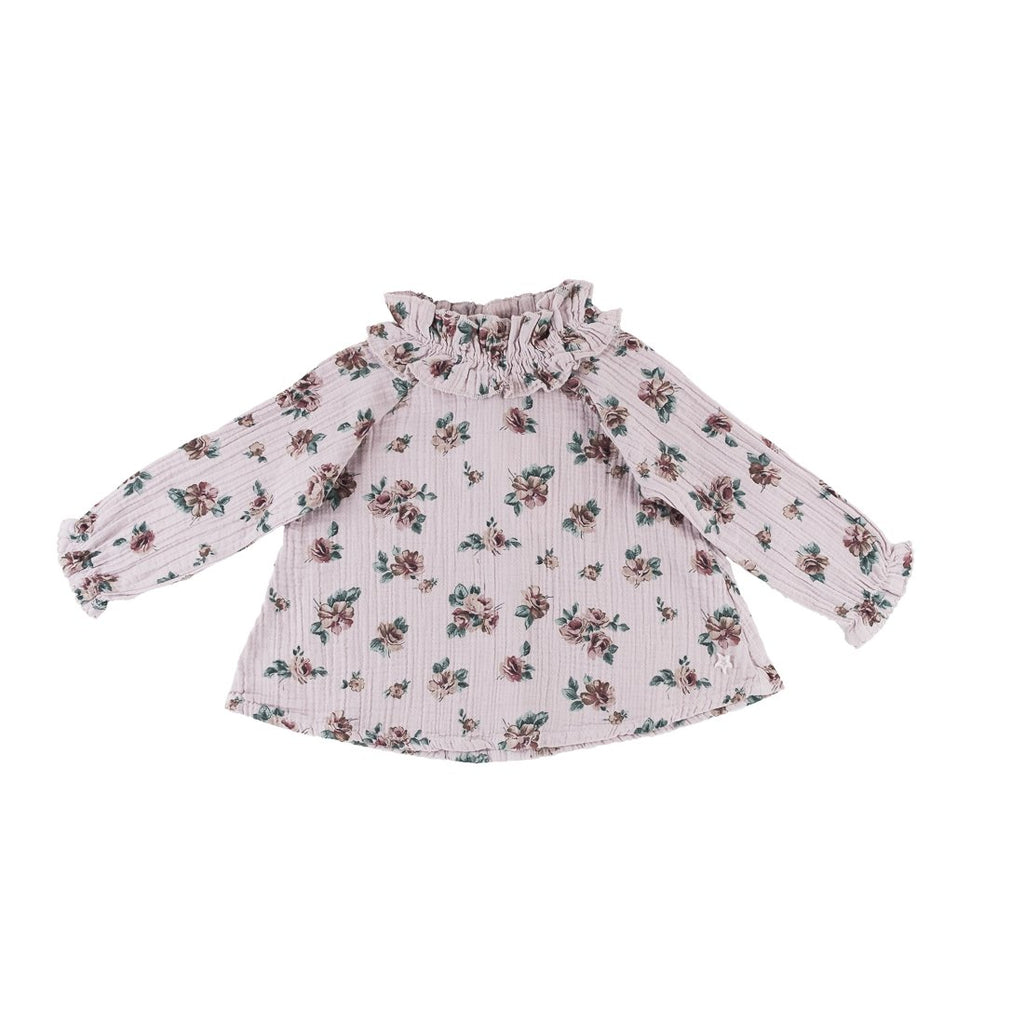 Flower Print Blouse with Double Ruffled Neck - Kids Edition