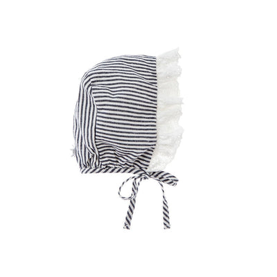 Striped Swiss Embroidery Lace Bonnet - Tocoto Vintage,  a vintage style designer children clothing brand based in Barcelona, Spain. Carried by Kids Edition, the best online designer children clothing boutique based in Vancouver, Canada.