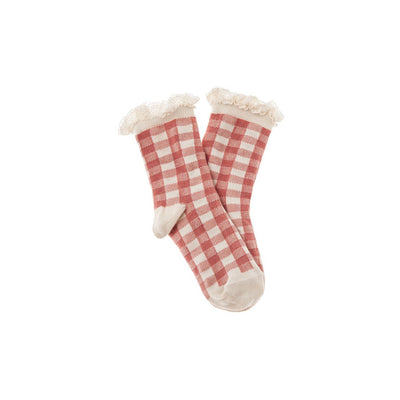 Short Vichy Squares Socks - Pink - Tocoto Vintage,  a vintage style designer children clothing brand based in Barcelona, Spain. Carried by Kids Edition, the best online designer children clothing boutique based in Vancouver, Canada.