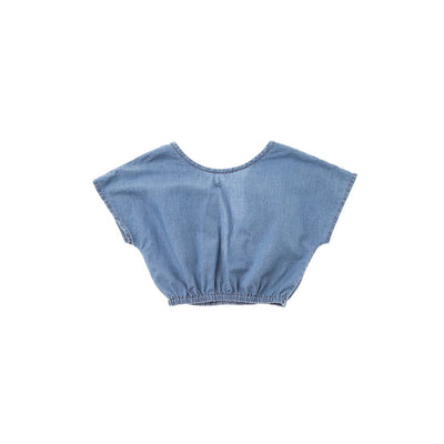 Tie-Back Light Denim Blouse - Kids Edition