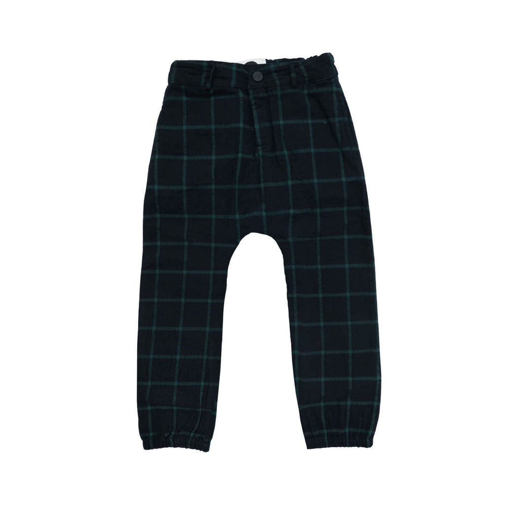 Forest Green Black Check Woven Pants - Kids Edition