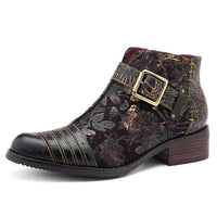 Retro Bohemian Cow Leather Motorcycle Boots