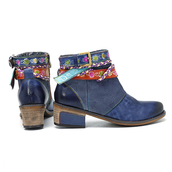 Genuine Leather Vintage Bohemian Ankle Boots
