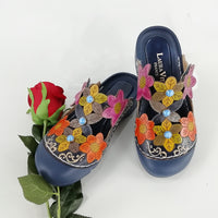 Retro Hand Painted Flat Genuine Leather Sandals