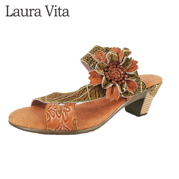 Retro Flora Style Genuine Leather Slip On Sandals