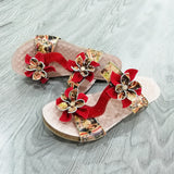 Retro Genuine Leather Bohemian Wedge Sandals