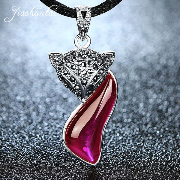 Ruby Red 925 Sterling Silver Fox Pendant