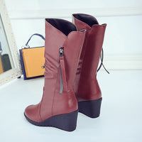 Winter Leather Motorcycle High Boots
