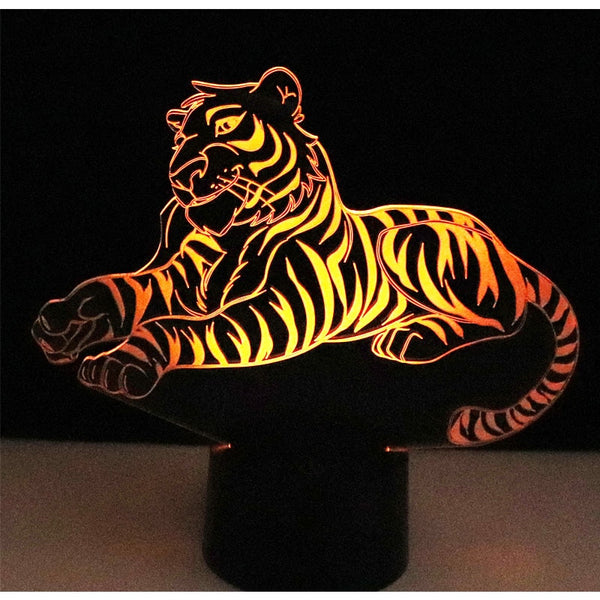 3D LED Night Light with 7 Colours (Tiger)