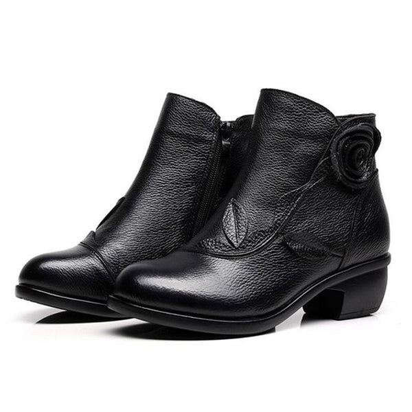 Genuine Leather Fur-lined Ankle Boots