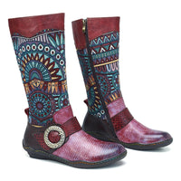 Snake Pattern Mid-calf Boots