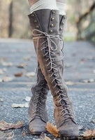Sexy Lace Up Over Knee Square Heel Boots