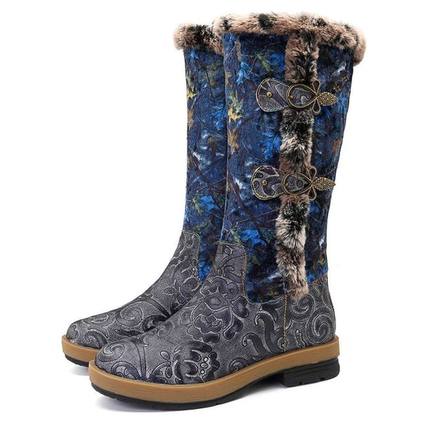 Retro Winter Plush Fur-lined Mid-calf Boots