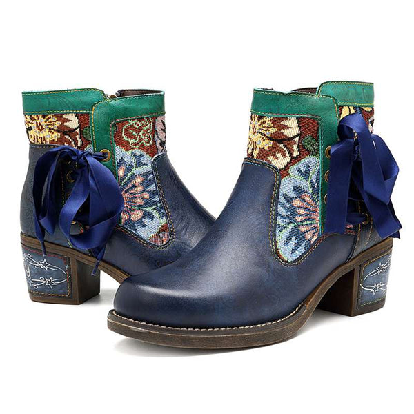 Western Cowgirl Genuine Leather Ankle Boots