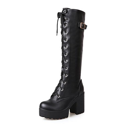 Lacing Knee High Square Heel Boots