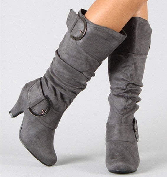 Knee High Women Autumn Faux Suede Boots