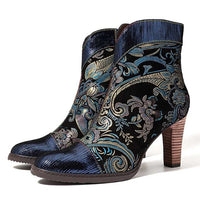 Retro Printed Leather Block High Boots