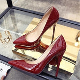 Pointed Toe Leather Women Sexy High Heels Pumps