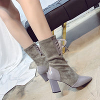 Winter Women Mid-Calf Boots New Style Pointed Toe Solid Shoes