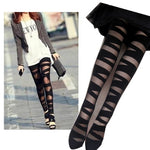 Ripped Cut-out Bandage Black Leggings