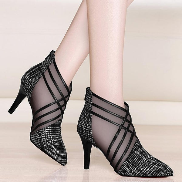 Mesh Ankle Boots 10cm Thin Heels Boots