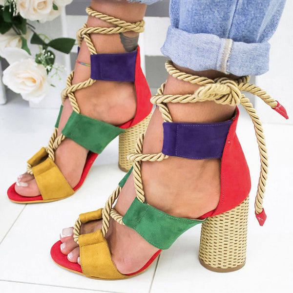 Women Lace Up High Heels Gladiator Sandals Thick Heels