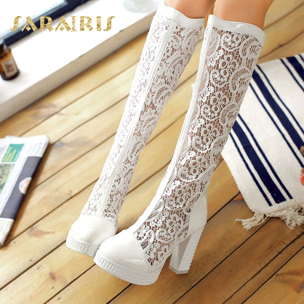 Women's Flower Lace Upper Square High Heel Knee Boots