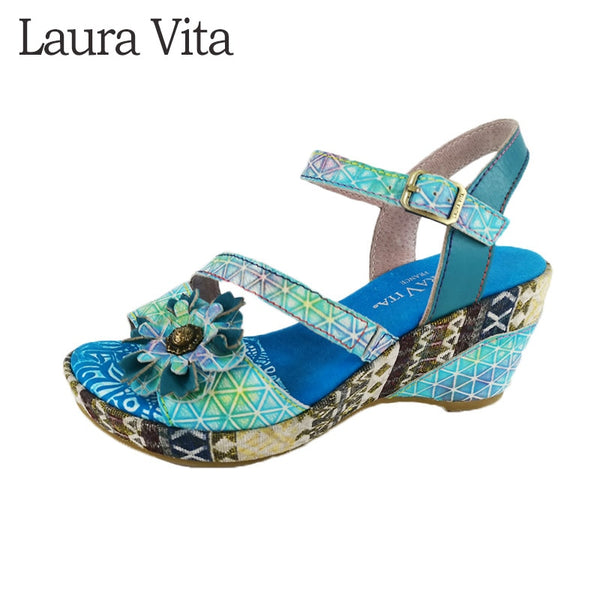 Hand Painted Genuine Leather Floral Sandals