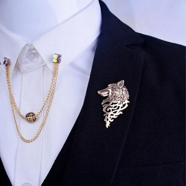 Wolf Brooch Pin Jewelry For Men GD