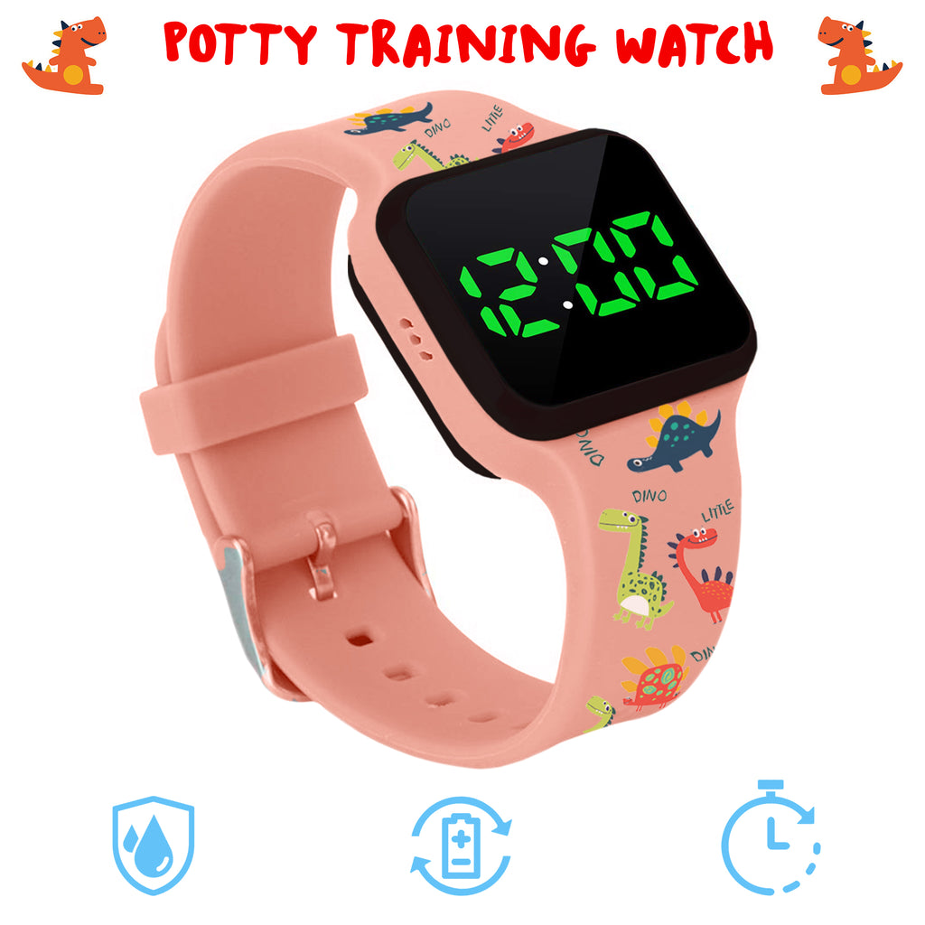 Potty Training Timer Watch with Flashing Lights and Music Tones - Water Resistant, Rechargeable, Dinosaur Pattern Pink Band - Athena Futures