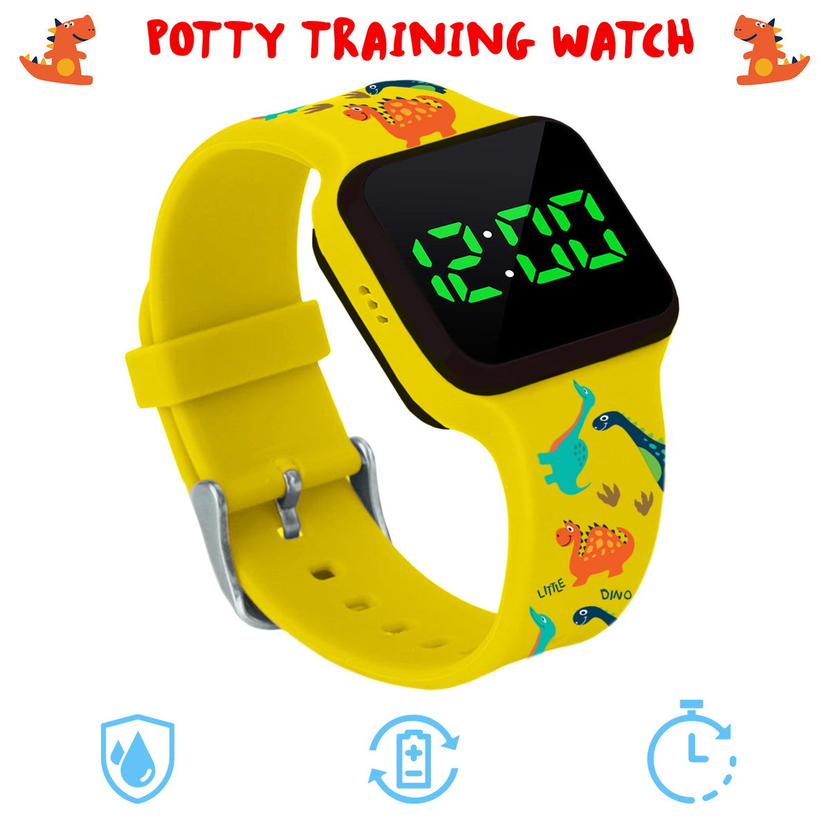 Potty Training Timer Watch Yellow Dinosaur with Flashing Lights and Music Tones