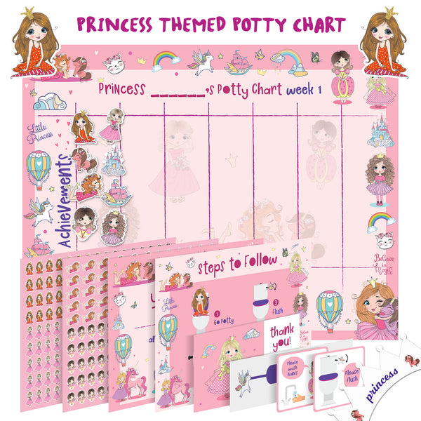 Potty Training Chart For Toddlers – Princess Design - Reward Your Child – Sticker Chart, 4 Week Chart